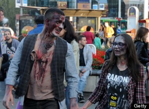 BELGRADE, SERBIA - OCTOBER 19: People dressed as a zombie a stage a march in the last day of the 2013 Serbian Fantastic Film Festival on October 19, 2013 in Belgrade, Serbia. (Photo by Medin Halilovic/Anadolu Agency/Getty Images)