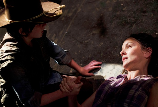 Carl Grimes (Chandler Riggs) and Lori Grimes (Sarah Wayne Callies) - The Walking Dead - Season 3, Episode 4 - Photo Credit: Gene Page/AMC